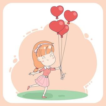 하트 풍선 그림을 많이 들고 귀여운 소녀 캐릭터.