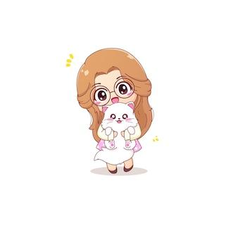 Симпатичная девушка персонаж обнимает белого кота векторные иллюстрации