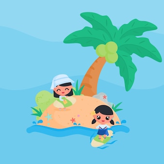 Cute girl character playing surfboard at the beach in summer flat design cartoon style vector
