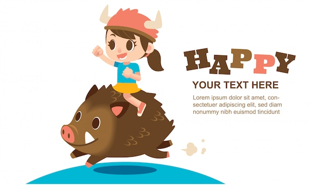 Cute girl character riding on a wild boar for greeting card