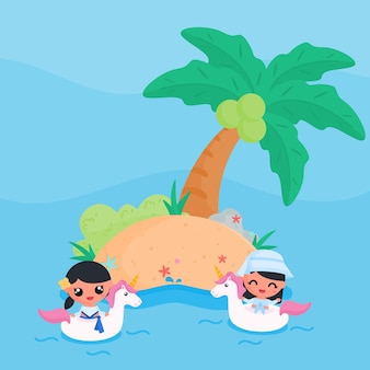 Cute girl character swimming with unicorn float at the beach in summer flat design cartoon style vector