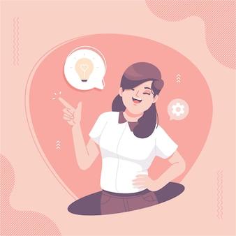 かわいい女の子のキャラクターの思考のアイデアのイラストの背景