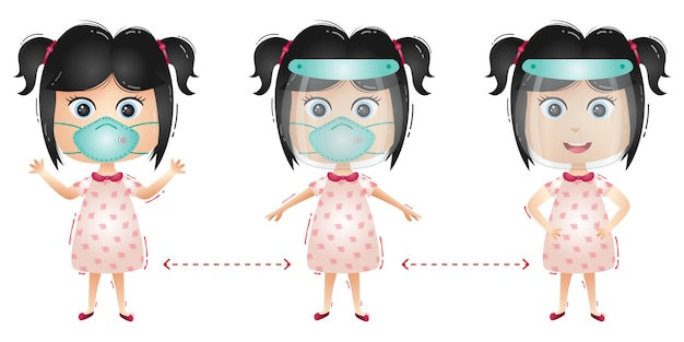 Cute girl character using face shield and mask