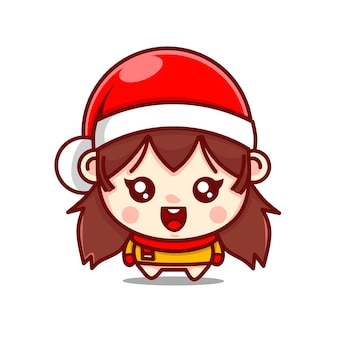 Cute girl character with christmas hat