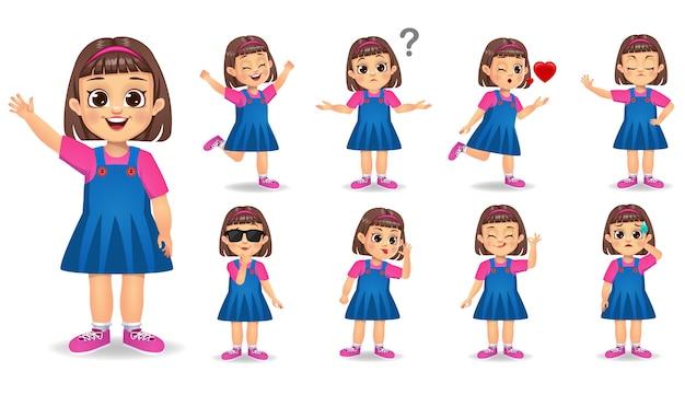 Симпатичная девушка персонаж с набором различных жестов