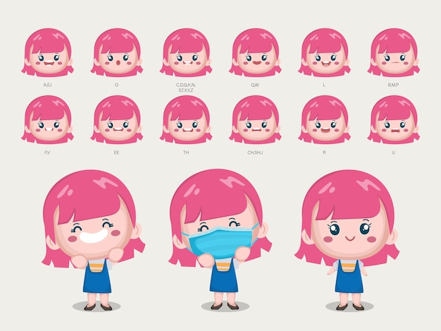 Cute girl character with different poses and emotions