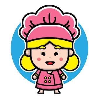 Cute girl chef cartoon character design