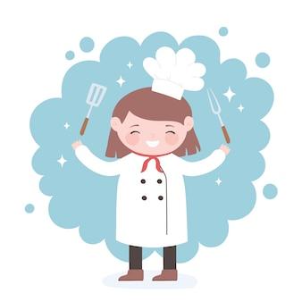 Симпатичная девочка-повар мультипликационный персонаж с вилкой и лопаткой