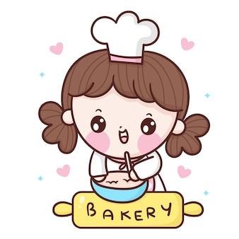 달콤한 빵집 로고 귀여운 스타일을 요리하는 귀여운 소녀 요리사 만화