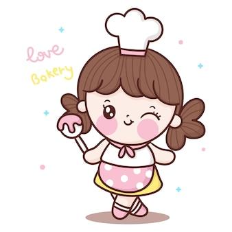 Симпатичная девушка шеф-повар мультфильм готовит сладкое, держа ложку в стиле каваи