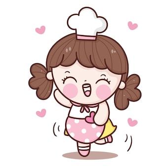 ハートカワイイスタイルを保持しているかわいい女の子のシェフの漫画