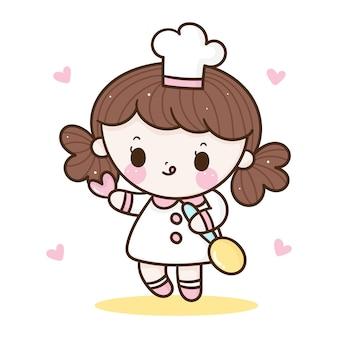 Симпатичная девушка-шеф-повар, держащая ложку и сердце каваи