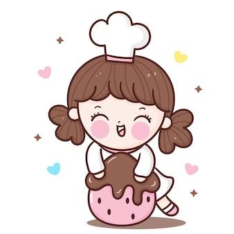귀여운 소녀 요리사 만화 포옹 딸기 요리 베이커리 숍 로고 카와이 캐릭터