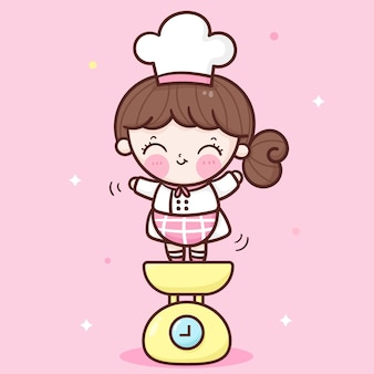 무게 기계 귀여운 베이커리 숍 로고에 귀여운 소녀 요리사 만화
