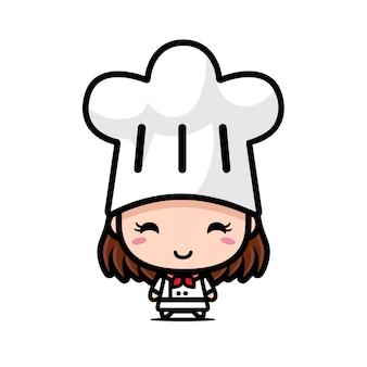 귀여운 소녀 요리사 캐릭터 디자인