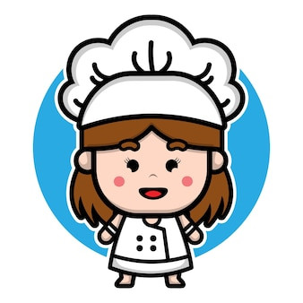 Cute girl chef character design