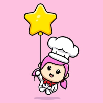 Cute girl chef floating with star balloon mascot design