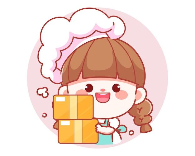 Cute girl chef holding cardboard box banner logo cartoon art illustration