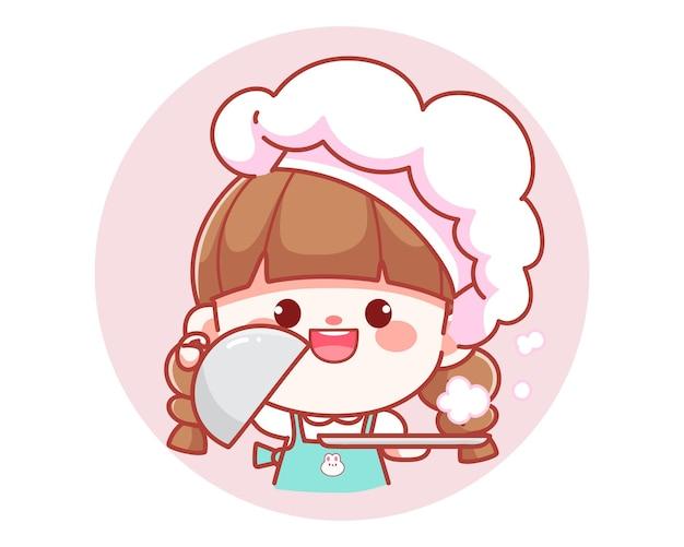 Cute girl chef holding tray platter plate over banner logo cartoon art illustration