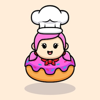 Симпатичная девушка-шеф-повар внутри дизайна талисмана пончика