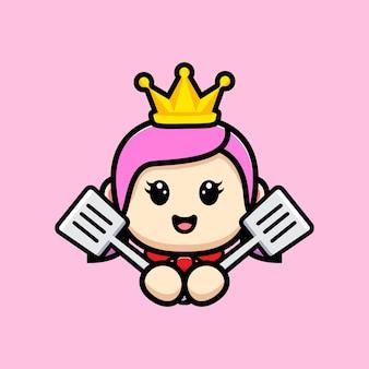 Симпатичная девушка шеф-повар королева талисман дизайн