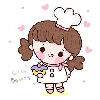 Симпатичная девушка-шеф-повар, подающий каваи, рисованной