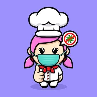 마스크 마스코트 디자인을 입고 귀여운 여자 요리사
