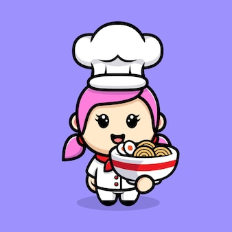 Симпатичная девушка-шеф-повар с дизайном талисмана лапши рамэн