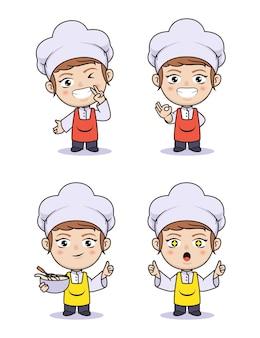 Cute girl chibi and kawaii chef illustration