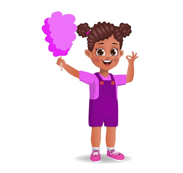 Cute girl child eat cotton candy. isolated
