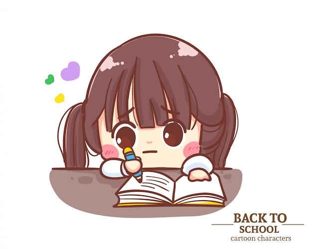 Симпатичная девочка в школьной форме делает домашнее задание обратно в школу. карикатура иллюстрации premium векторы