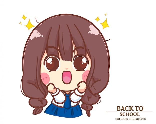 Симпатичная девочка, школьная форма, взволнована и рада снова в школу. карикатура иллюстрации premium векторы