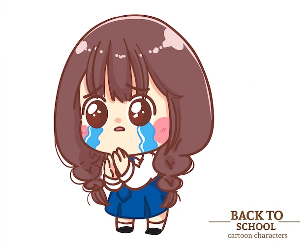 Cute girl children student uniforms feel guilty back to school. cartoon illustration premium vector