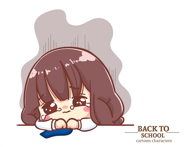 Cute girl children student uniforms feeling sad and crying back to school. cartoon illustration premium vector