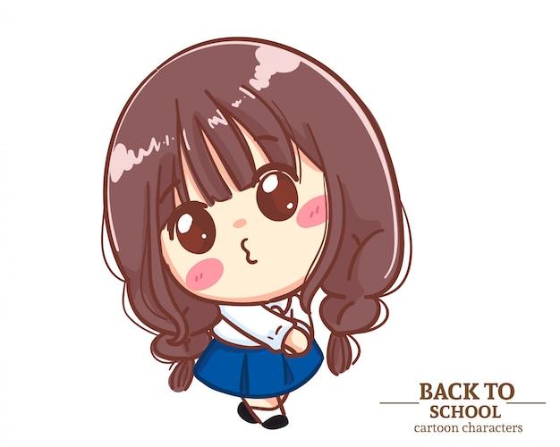Cute girl children student uniforms felt embarrassed and wriggled back to school. cartoon illustration premium vector
