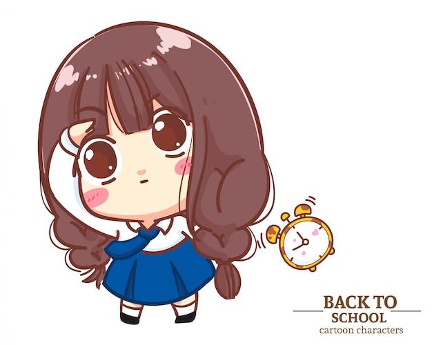 Милая девочка в школьной форме подняла руку, чтобы снова взглянуть на школу. карикатура иллюстрации premium векторы