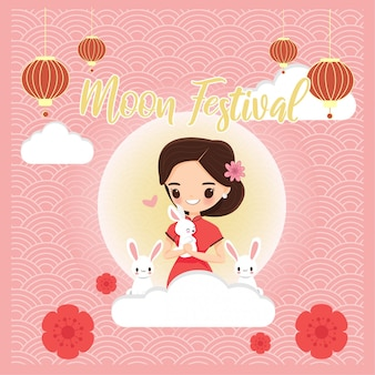 Cute girl in chinese traditional dress with rabbit for moon festival