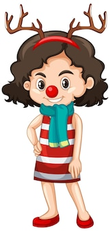 Cute girl in christmas costume cartoon character