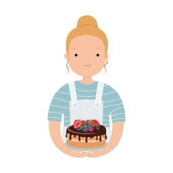케이크와 함께 귀여운 소녀 요리사입니다. 페이스북용 아바타. 벡터 일러스트 레이 션 흰색 배경에 고립입니다.