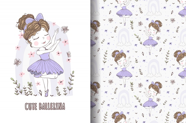 Cute girl dancing ballet hand drawn illustration and pattern