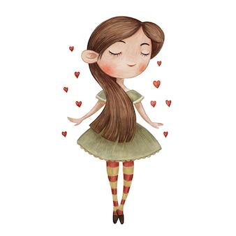 Cute girl dancing illustration