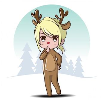 Cute girl in deer costume., cartoon character.