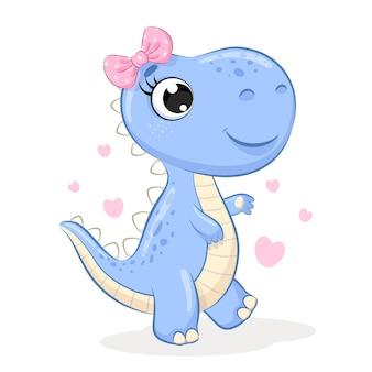 Cute girl dinosaur with bow cartoon illustration