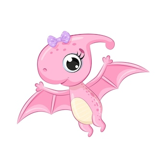 Cute girl dinosaur with bow isolated on white