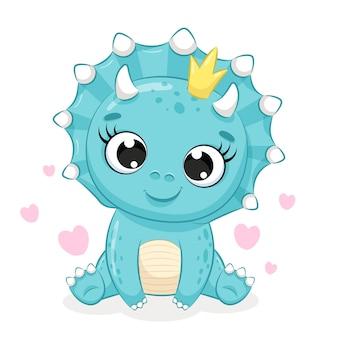 Cute girl dinosaur with crown cartoon illustration