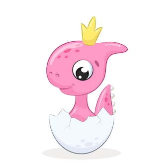 Cute girl dinosaur with crown isolated on white