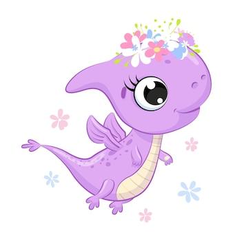 Cute girl dinosaur with flowers cartoon illustration