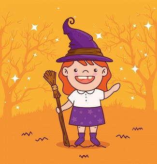 Cute girl disguised of witch for happy halloween celebration vector illustration design