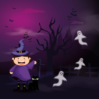 Cute girl disguised of witch in scene halloween illustration