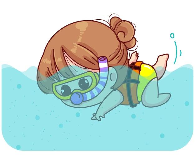 かわいい女の子が海の漫画イラストでサンゴと魚の間でダイビング